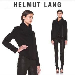 Helmut Lang Black Moto Zip Asymmetric Cardigan